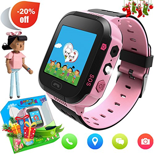 Kids Smartwatch with GPS Tracker Phone Remote Monitor Camera Touch Screen One Game Anti Lost Alarm Clock App Control by Parents for Children Boys Girls Compatible with Android iPhone (02 G3E Pink)