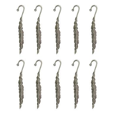 buy phenovo 10 pcs tibetan silver beading feather bookmarks with