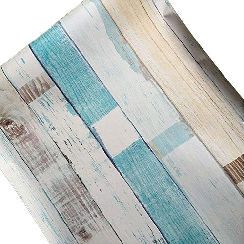 Handscraped Flooring Wood - Teemall Colorful Wood Decorative Self-Adhesive Film for Furniture Counter Drawer Liner 17x118inch