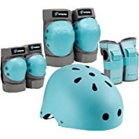 Spofine Kids Bike Helmet, Toddler Helmet Adjustable for Kids Youth Adult, Knee Pads Elbow Pads Wrist Guards Kids…