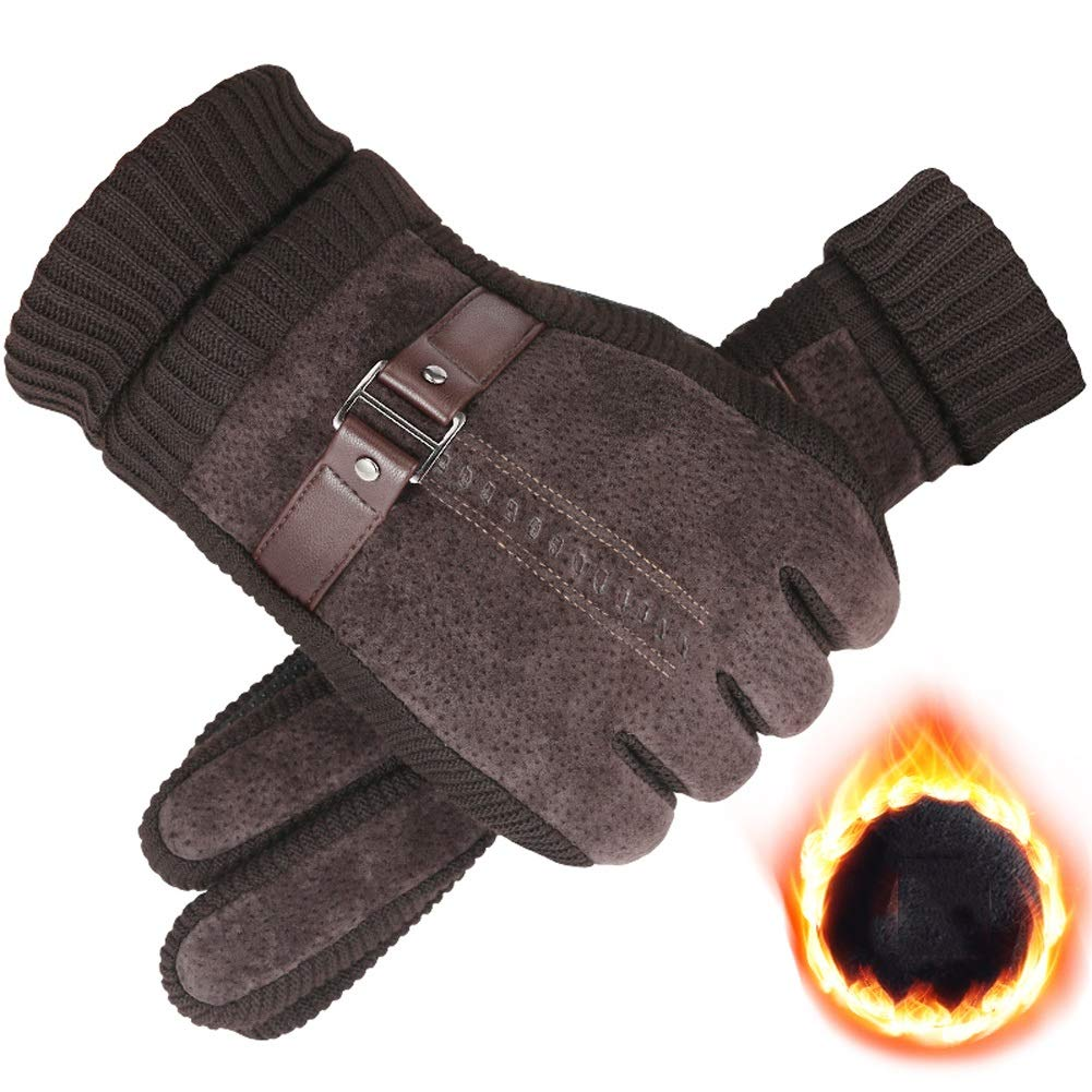 AINIYF Outdoor Gloves | Men's Winter Warm Thicken Plus Velvet Touch Screen Pig Skin Autumn Winter Windproof Cold Tactical Gloves Cycling Motorcycle (Color : #2Brown) by AINIYF (Image #1)