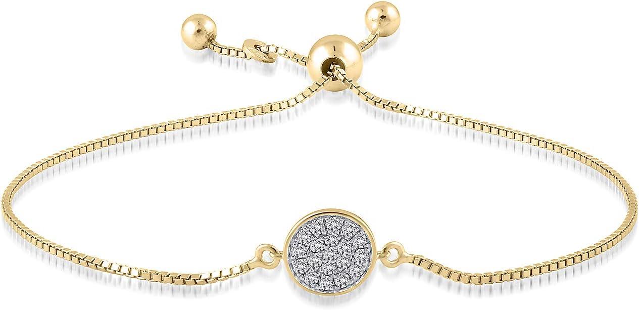Helzberg Diamonds 10K Gold 1/5 cttw Diamond (I-J, I2-I3) Bolo Bracelet, 9