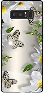 Cover For Samsung Galaxy Note8 - Black Dots Butterflies & White Flowers