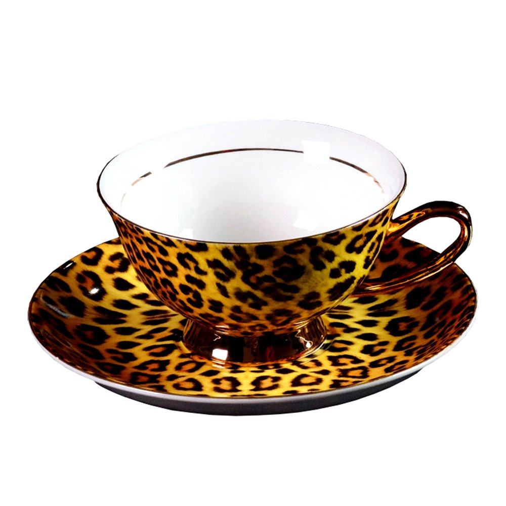 Bone China Ceramic Tea Cup Coffee Cup,Leopard-Print,Yellow And Black doublebulls DT127