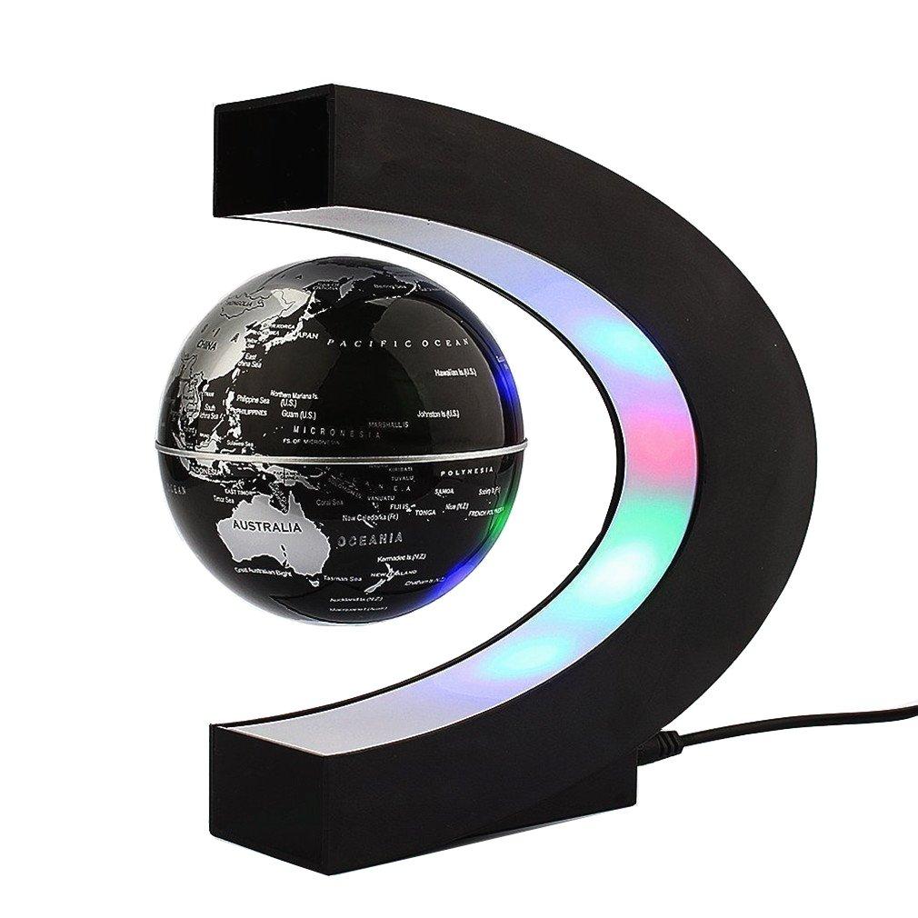 Floating Globe with LED Lights C Shape Magnetic Levitation Floating Globe World Map for Desk Decoration (Black)