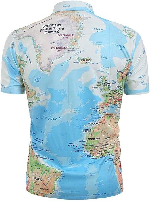 Mapa Mundial de la Tierra Camisas de Verano de impresión Camisas ...