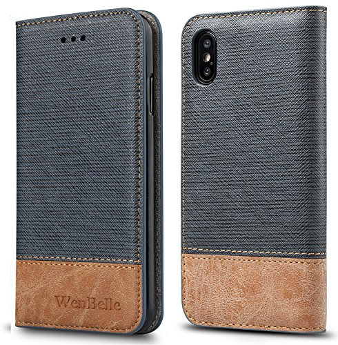 for iPhone Xs/iPhone X Case,WenBelle Blazers Series,Stand Feature,Double Layer Shock Absorbing Premium Soft PU Color Matching Leather Wallet Cover Flip Cases for Apple iPhone Xs/X 5.8 inch (Blue)