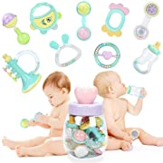 Forstart 9pcs Baby Rattles Teether, Shaker, Grab and Spin Rattle, Musical Toy Set, Early Educational Toys for 3, 6, 9, 12 Month Baby Infant, Newborn