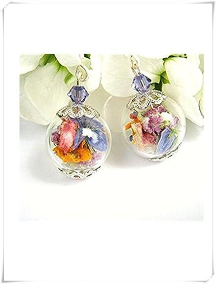 Echter Blume Glas Bead Ohrringe Echte Getrocknete Blumen Schmuck