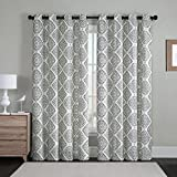 Victoria Classic Judy 2-Pack Medallion Grommet Room Darkener Panel, Improves Energy Efficiency Easy Hanging, Reduces Outside Noise, Beautiful Multi-color Pattern, 76×84 Inches (Gray)