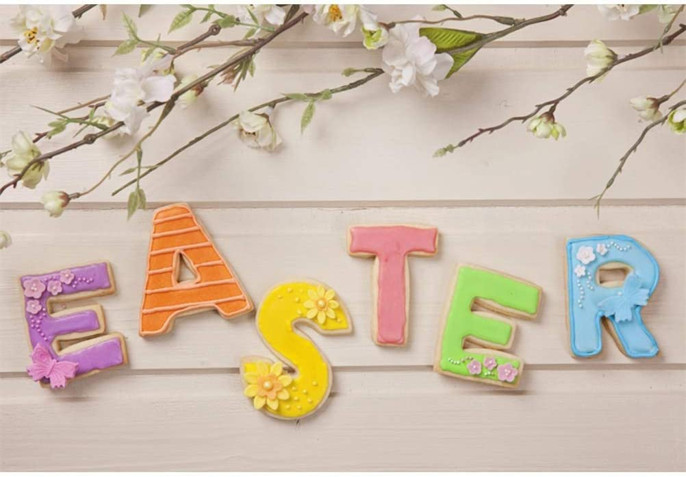 Easter Theme 10x6.5ft Polyester Photography Background Spring Flowering Branches Colorful Gingersnap Easter Letters Rustic Wood Plank Backdrop Community Easter Egg Hunt Day Banner Studio Props