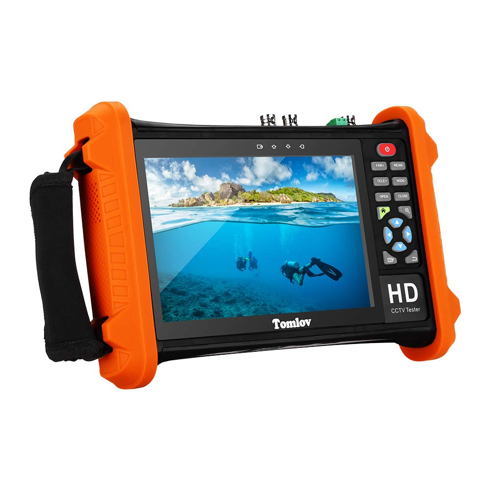 TOMLOV Security CCTV Tester, 7'' IPS Touch Screen CCTV Tester CVBS Monitor Analog Tester with SDI/TVI/AHD/CVI Camera Test, HDMI in/Out, LED Flashlight, Cable Test, Ping Test, TV Out(Orange) by TOMLOV