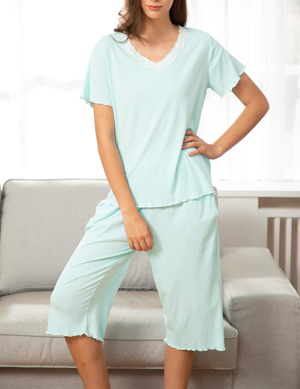 Onniel Women Pajamas Set Ruffle Short Sleeve Sleepwear V-Neck Nightwear Soft Capri Pant Pj Sets with Pocket