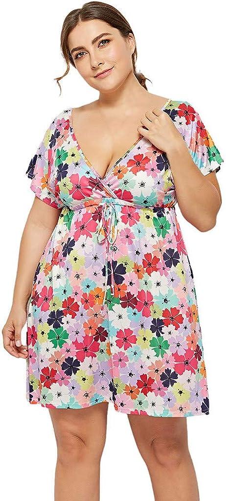 Amazon Com Vestido De Mujer De Talla Grande Estilo Casual Bohemio De Verano Con Estampado De Cuello En V Ideal Para Vacaciones En La Playa Talla M 4xl Suave L Clothing