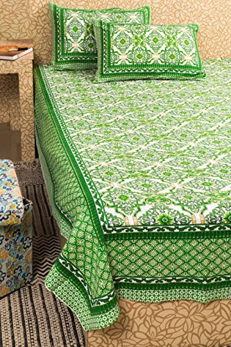 - KunhaR Jaipur Screen Printed Queen Size 100% Cotton Double Bed Sheet with 2 Pillow Covers