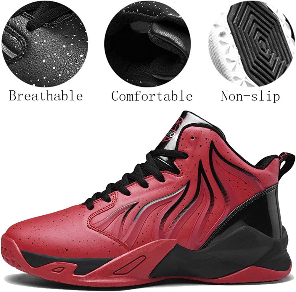 W/&Q Basketball Shoes Couple Womens Mens Fashion High-Top Sports Shoes Anti Slip Running Shoes Youth Shock Absorption Sneakers
