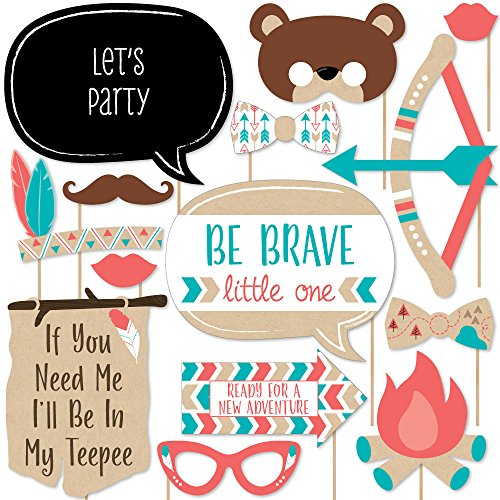Big Dot of Happiness Be Brave Little One - Boho Tribal Baby Shower or Birthday Party Photo Booth Props Kit - 20 Count
