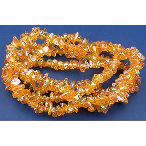 Amber Colored Glass Bead (Amber AB Chip Glass Beads Jewelry Beading 1 34