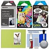 Essentials Bundle for Fujifilm Instax Mini 8, Mini 70 & Mini 90 Instant Film Camera with 30 Monochrome/Rainbow/Comic Prints + Cleaning Kit