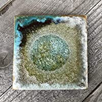 Geode Crackle Coaster in GREEN AND COPPER: Individual Coaster, Geode Coaster, Agate Coaster, Fused Glass Coaster, Crackle Glass Coaster, Dock 6 Pottery Coaster, Dock 6 Pottery, Kerry Brooks Pottery
