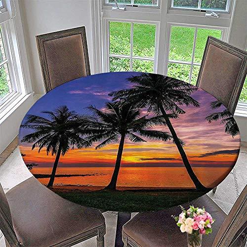 Mikihome Round Tablecloth cor Ocean Palms Tree SunSeaside ACH Aquamarine Vacati 50