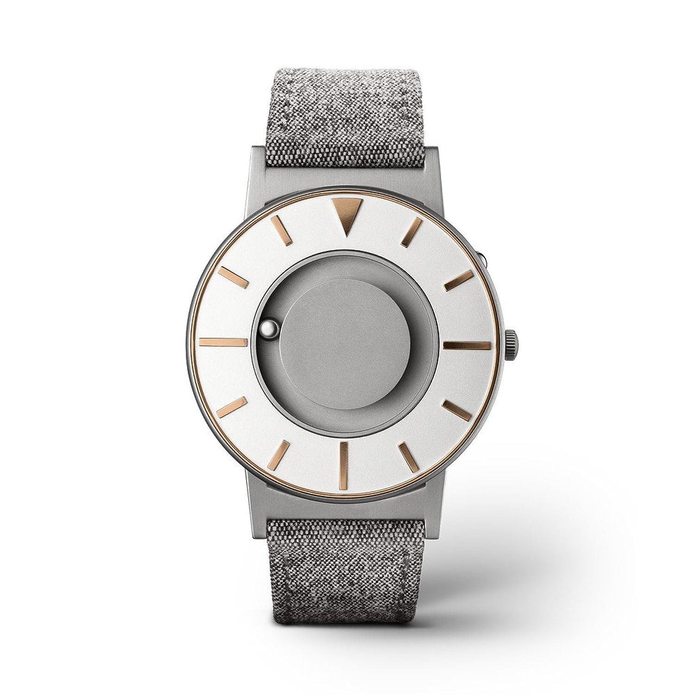 eone BRADLEY COMPASS Gold Unisex Uhr - Leder- Stoff Armband grau BR-COM-GOLD