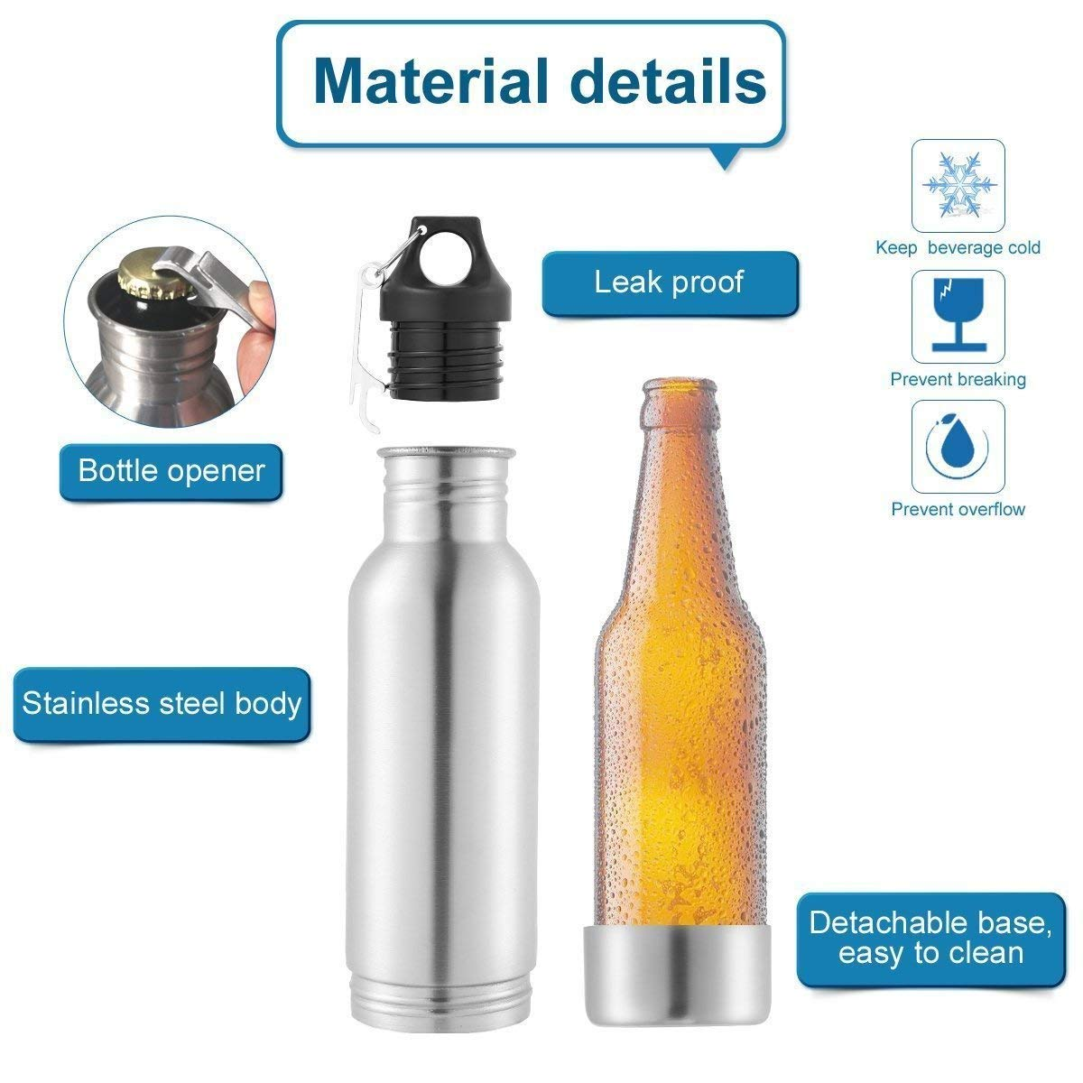 Beer Bottle Insulator, Stainless Steel Beer Bottle Insulator (2 Pack) Keeps Beer Colder With Opener/Beer Bottle Holder For Outdoor or Party … (Silver) by Starimac (Image #3)