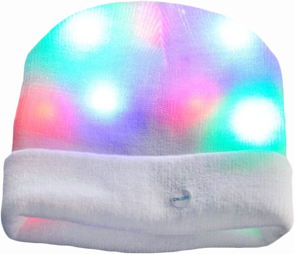 LED Beanie Hat With Button Battery Replaceable Unisex Head LED Night Lamp Light