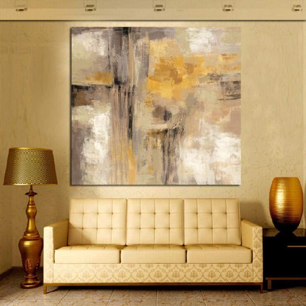 Ywsen Cuadro Abstracto de Pintura al óleo sobre Lienzo, Color Amarillo, Gris, impresión HD, decoración de Imagen para Sala de Estar, sofá sin Marco, 70 x 70 cm
