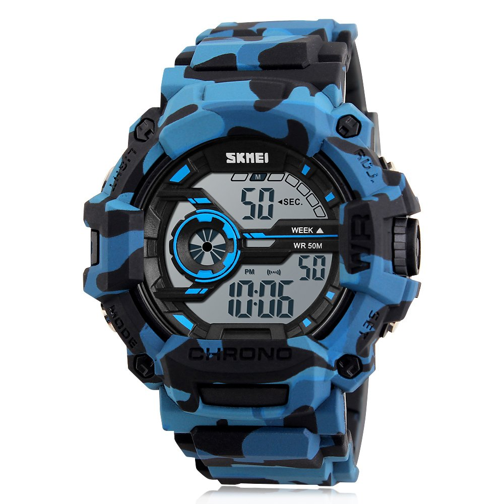 Digital Boys Watch CamouflageBlue Sports Military Style Alarm LED Backlight Stopwatch Waterproof