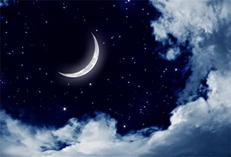 AOFOTO 8x6ft Sweet Crescent Moon Night Backdrop Beautiful Starry Sky Clouds Photography Background Good Dream Baby