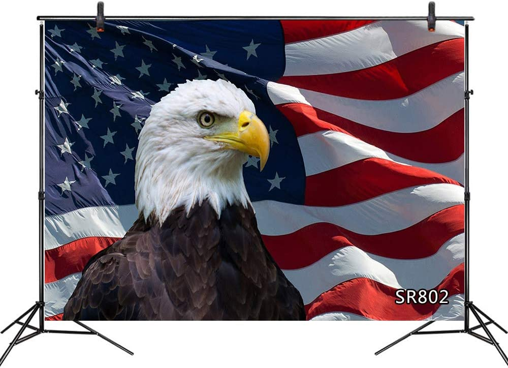 LB USA Flag Backdrops for Photography 10x8ft Bald Eagle American Independence Day Predident Day Memorial Day Photo Background for Pictures Customized Photoshoot Props
