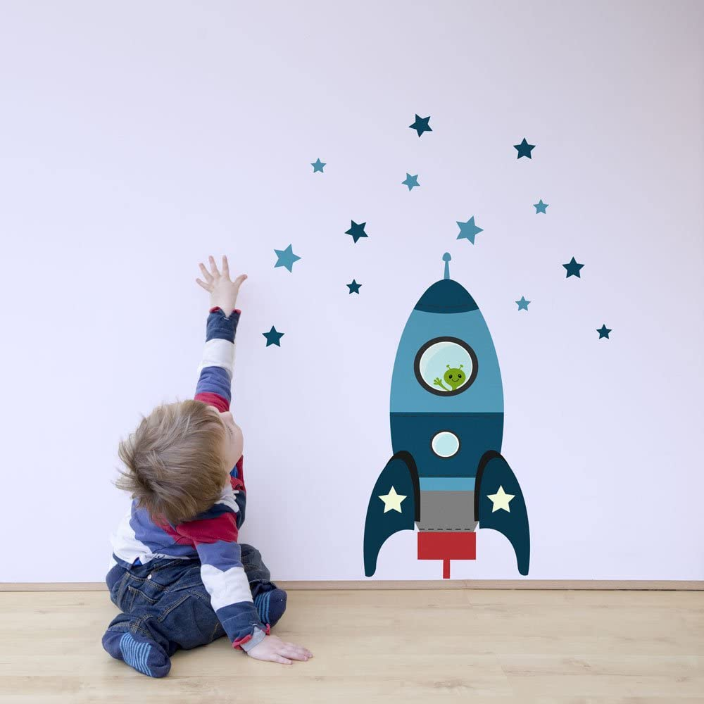 Large Size in Blue Perfect for Creating a Space Themed Nursery or Bedroom Blast Off Rocket Wall Sticker