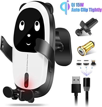 Gokey Wireless QI Car Charger Mount 15W Fast Charging Auto-Clamping Infrared Sensing Windshield Dashboard Air Vent Phone Holder Compatible with iPhone 11 11Pro Xs MAX XR X 8 7 6 Samsung S10 S9