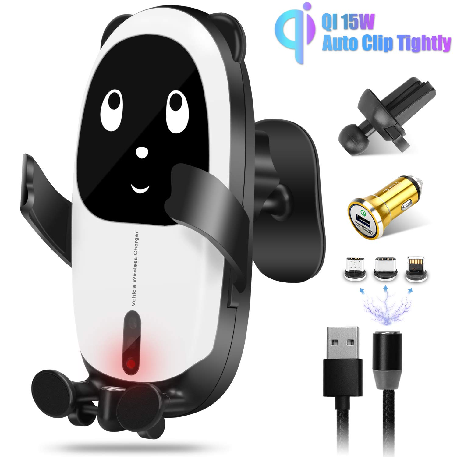Gokey Wireless QI Car Charger Mount 15W Fast Charging Auto-Clamping Infrared Sensing Windshield Dashboard Air Vent Phone Holder Compatible with iPhone 11/11Pro/Xs MAX/XR/X/8/7/6 Samsung S10/S9 by Gokey