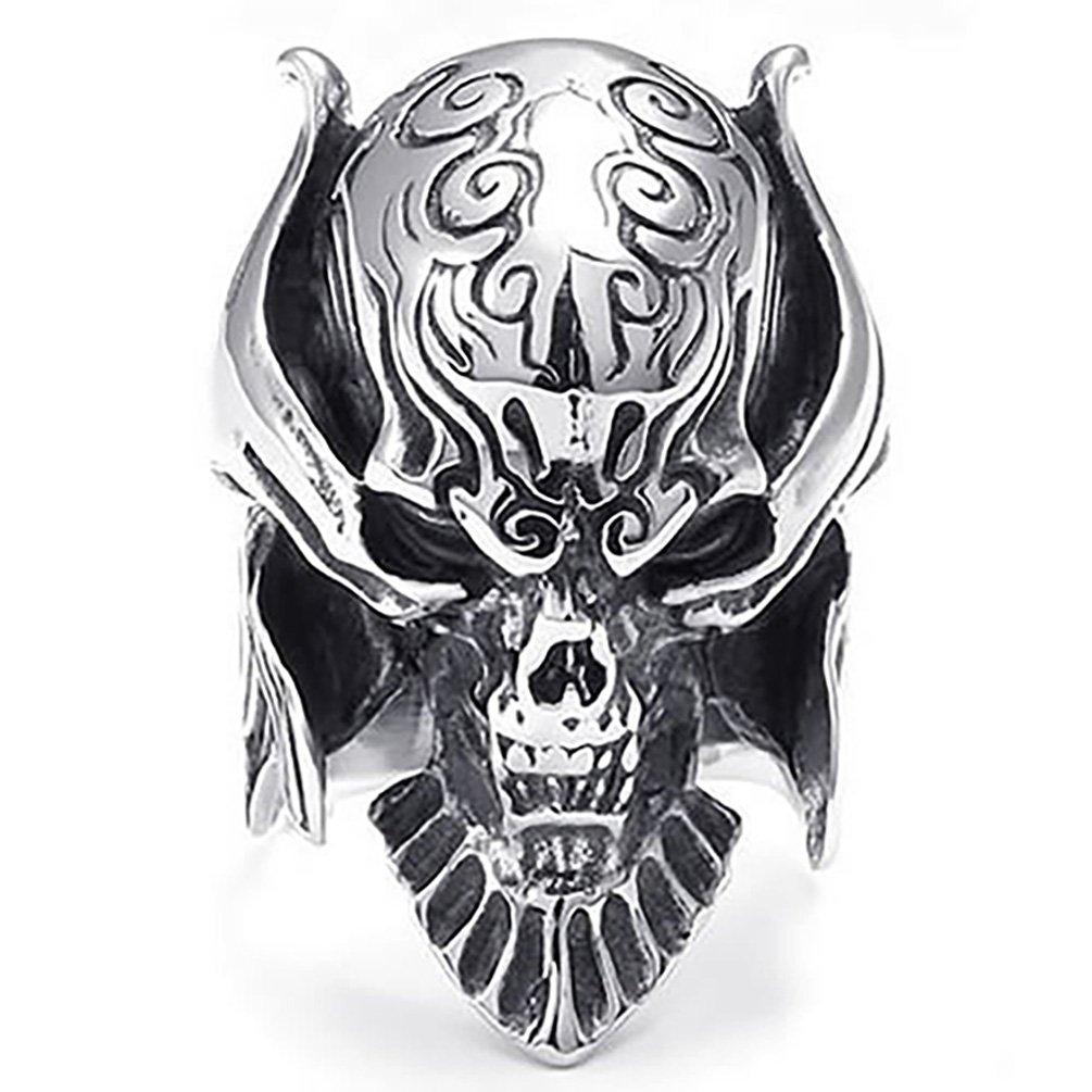 Amesii - Chevalière casque tête de mort pour homme - En acier inoxydable Amesii Alliage