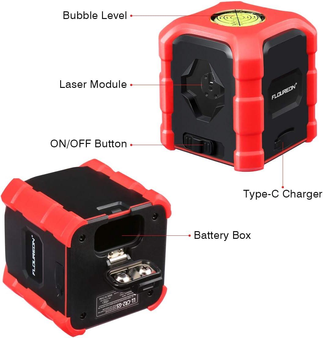 Livello Laser FLOUREON Livella Laser Autolivellante Laser a Croce con Livella a Bolla Carica da Tipo C o Batterie IP54 Impermeabile