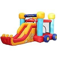 PLAY4FUN Château Gonflable pour Enfants 4,6m : Aire de Jeux Gonflable avec Toboggan renforcé et Mur d'escalade - souffleur et Sac de Rangement Inclus - Voiture Gonflable Bobby