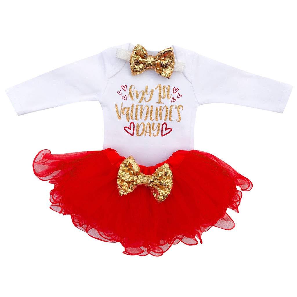 Baby Girl Letter Romper Outfits Set,Newborn Infant Tops Tutu Skirts Headband (6-12 Months, White 5)