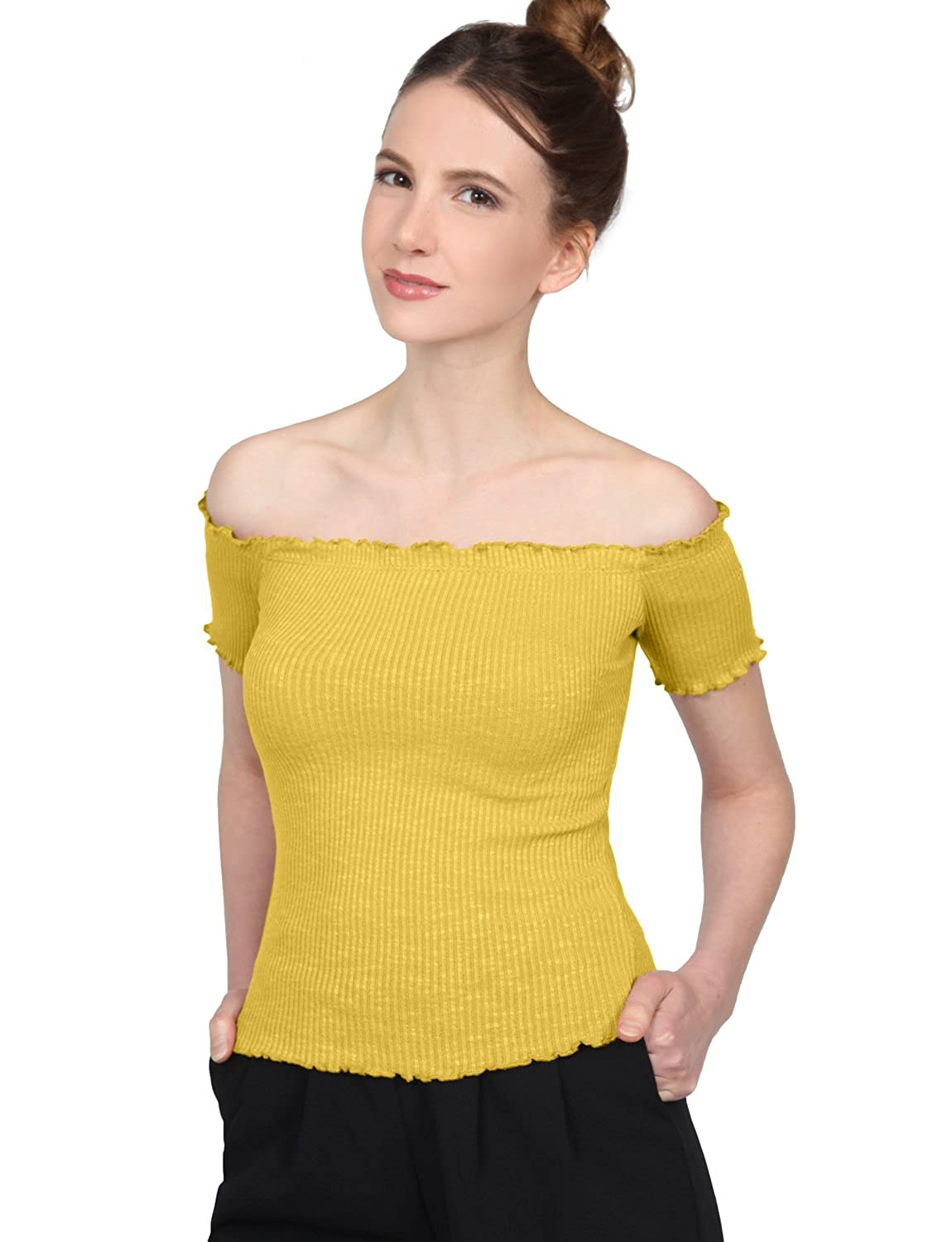 214978f04f1 Amazon.com  NE PEOPLE Women s Stretch Off The Shoulder Short Sleeve Smocked Ribbed  Detailed Shirts Crop Tops MADE IN USA  Clothing