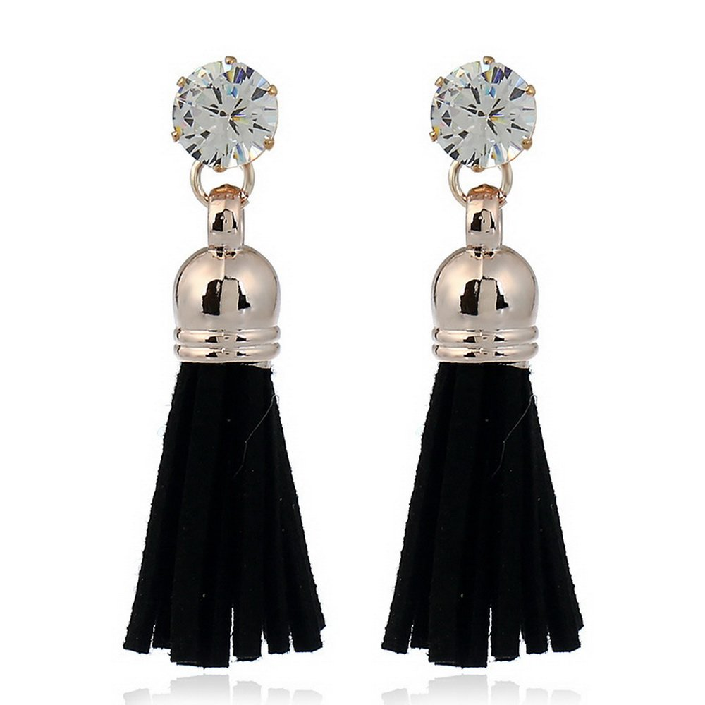 Black IDB Productions IDB Delicate Filigree Dangle Bell Tassel Bohemia Style Hook Earrings with a Rhinestone Multiple Colors Available