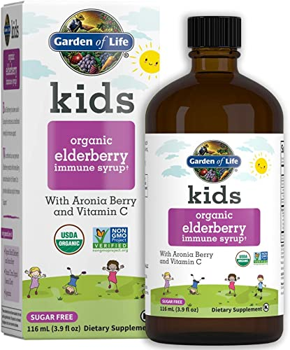 Garden of Life Kids Organic Elderberry Immune Syrup with Vitamin c for Immune Support – Sugar Free Sambucas Elderberry Syrup for Kids Plus Aronia Berry Acerola Cherry, 116 Ml 3.9 Fl Oz Liquid