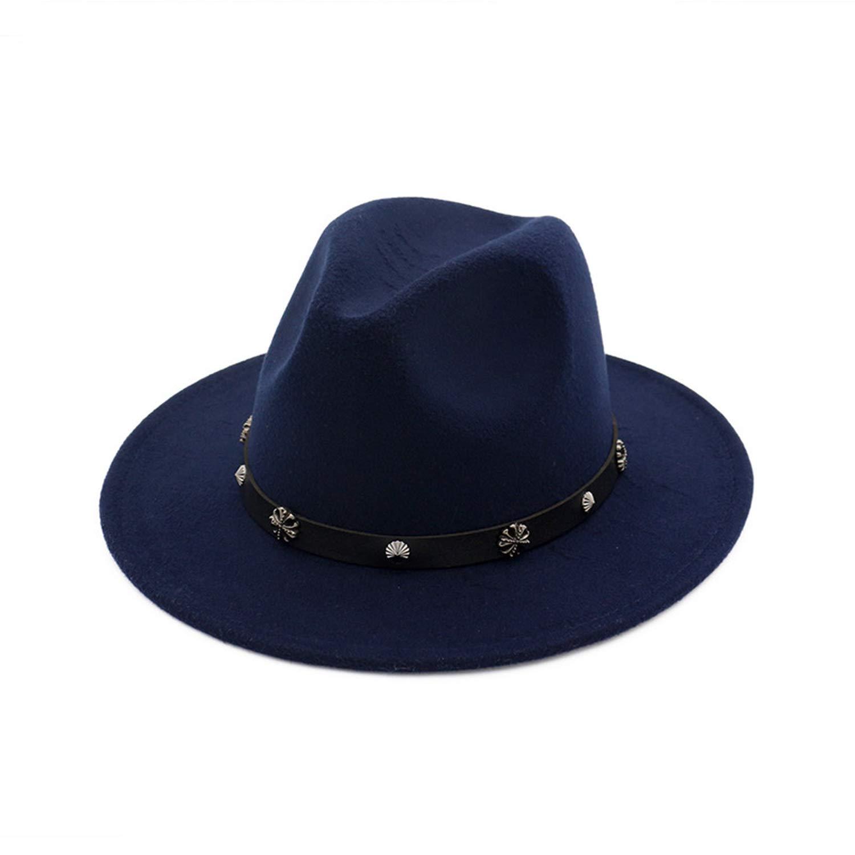 Rzxkad Fashion Jazz Style Flat Brim Ladies Formal Hat Woolen Felt Fedoras Hats with Leather Belt Panama Trilby Hat