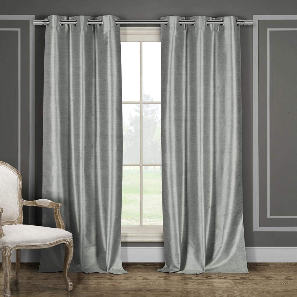 Duck River Textile Daenerys Heavy Faux Silk Insulated Blackout Room Darkening Curtain Set of 2 Panels 36X84 Gray 2 Piece
