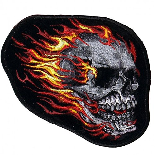 Hot Leathers, TRIBAL SKULL with Flames, High Thread Embroidered Iron-On / Saw-On Rayon PATCH - 4