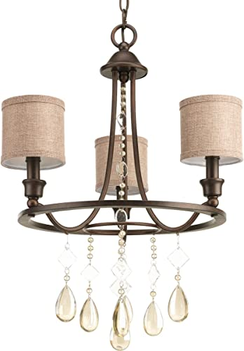 Progress Lighting P4803-72 Crystal Accents Three Light Chandelier from Flourish Collection