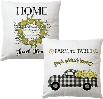 7colorroom Set Of 2 Farmhouse Quote Throw Pillow Covers Fresh Lemon Buffalo Check Truck Cushion Cover Home Sweet Home Farm Decorative Cotton Linen Pillow Cases 18 X 18 Fresh Lemon Amazon Co Uk Kitchen