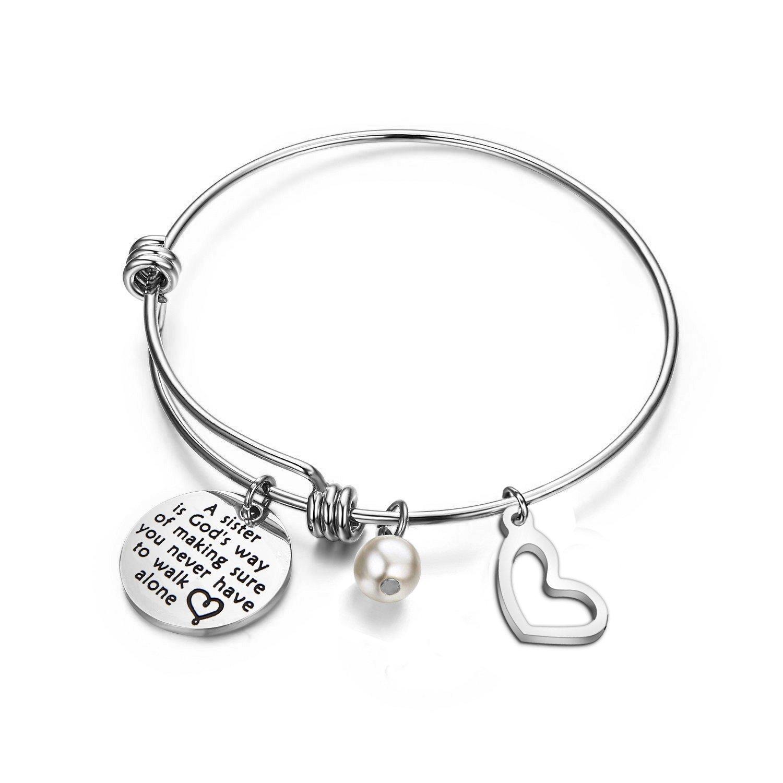 bobauna Sister Bracelet A Sister is God's Way of Making Sure You Never Walk Alone Expandable Wire Bangle Bracelet Best Friends Gift