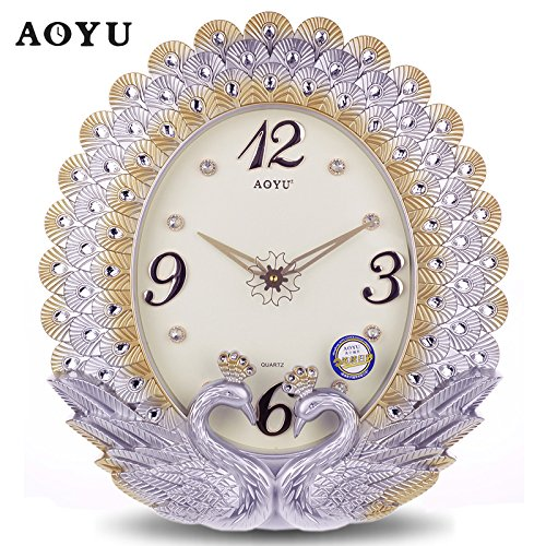 CGGHY 20-Inch (50.5 Cm In Diameter) Wall Clock European-Style Living Room Hanging Bell Bedroom Large Peacock Modern Simple Creative Quartz Watch Color Silver Peacock (Oval)
