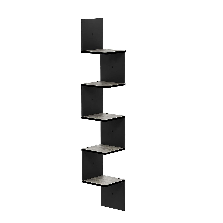 FURINNO FR16123GYW/BK Rossi 5-Tier Wall Mount Floating Corner Square Shelf, French Oak Grey/Black
